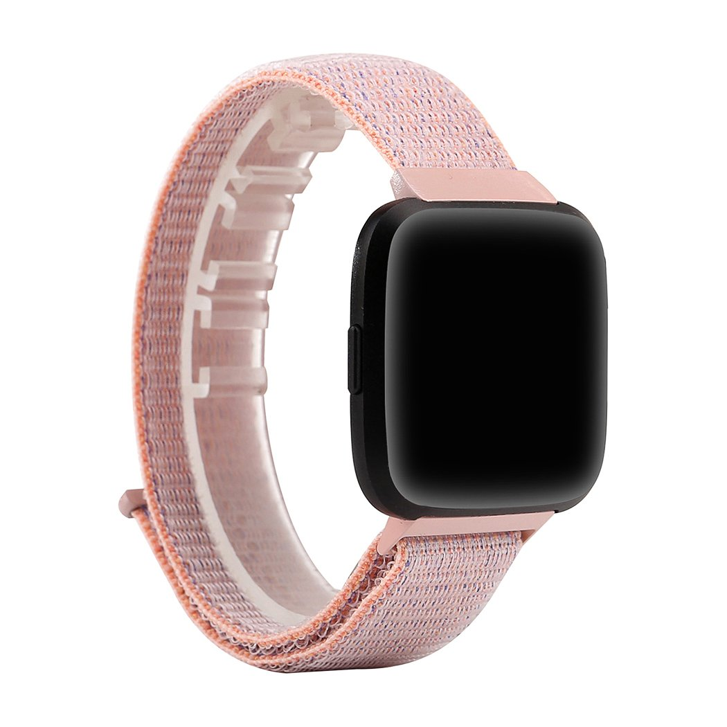 Azadodo Fitbit Versa Watch Bands Loop Small Large, Pearl Pink Adjustable Woven Nylon Sport Loop Wrist Replacement WristBands Straps For Fitbit Versa Fitness Smart Watch Women Men (Pearl Pink)