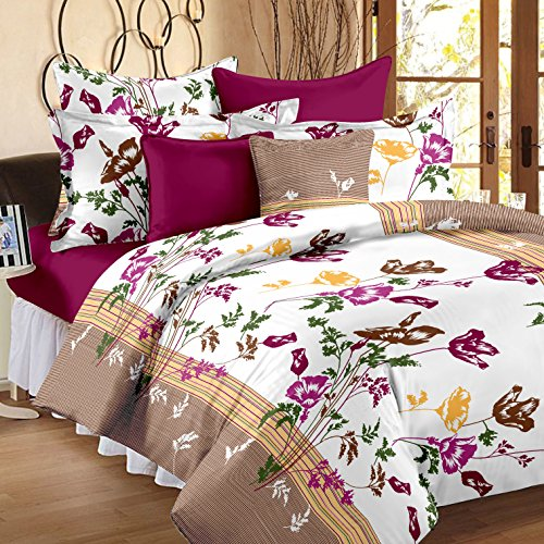 Story@Home Cotton Floral 120 TC 100% Cotton Double Bedsheet With 2 Pillow Covers