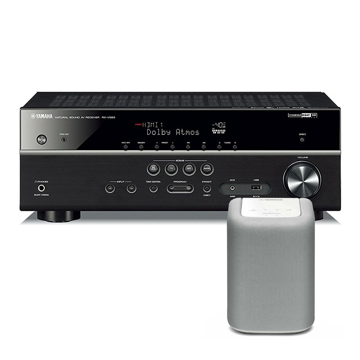 Yamaha RX-V583 7.2 Channel AV Network Receiver with Dolby Atmos and DTS:X Surround Sound with WX-010 MusicCast Wireless Speaker (White)