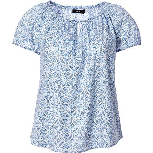 Ellos Women's Plus Size Keyhole Neckline Peasant Blouse - White Blue Print, 22/24 ()
