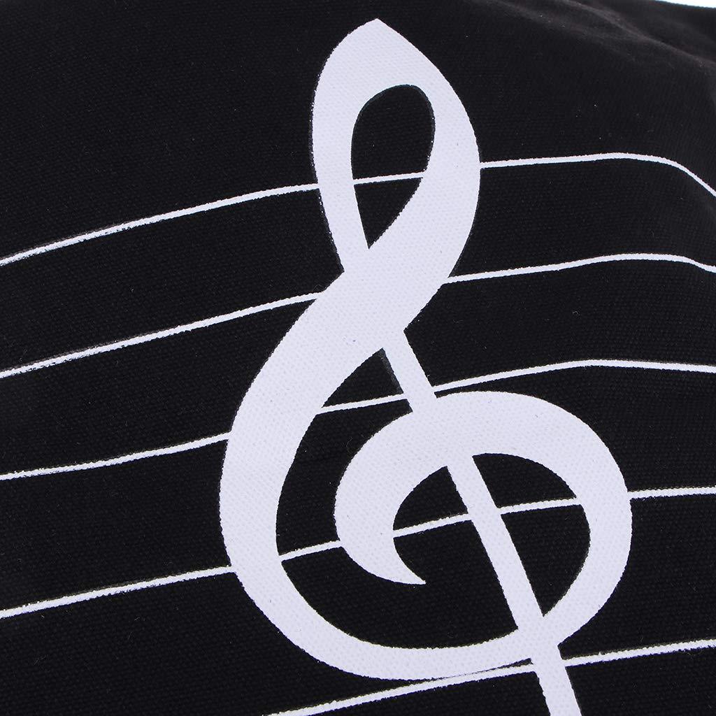 40,5/×31/×9cm P Prettyia Sac Fourre-tout en Toile Musique Imprim/ée pour Voyager Noir Travail Quotidien