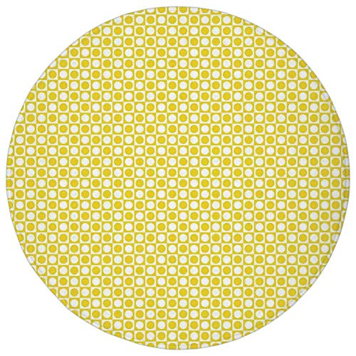 Round Rug Mat Carpet,Yellow Decor,Circles in Squares Dots Like Patterned Modern Cool Geometric Art Print,Yellow and White,Flannel Microfiber Non-slip Soft Absorbent,for Kitchen Floor ()