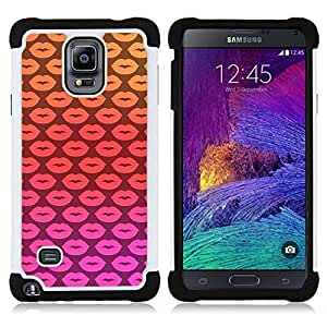 - lips kisses pink pattern yellow love - - Doble capa caja de la armadura Defender FOR Samsung Galaxy Note 4 SM-N910 N910 RetroCandy