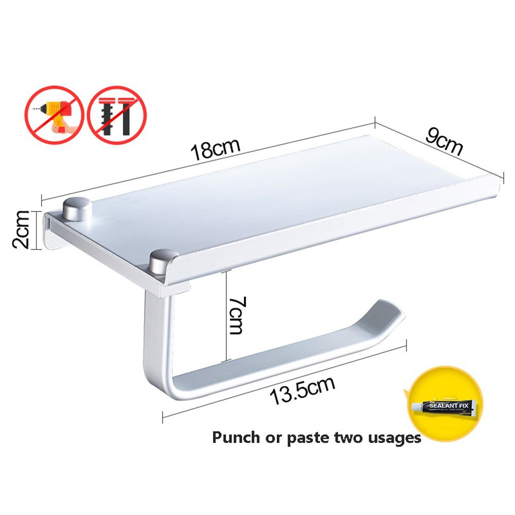 Q&F Toilet Paper Holder With Shelf Wall Mounted Tissue Holder Punch Free Aluminum Bathroom Tissue Basket-primary color