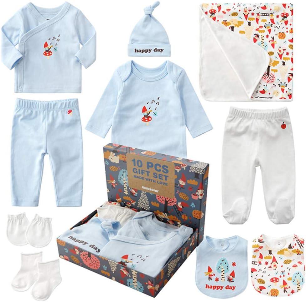 Sets de Regalos para Recién Nacidos Baby Ropa de Equipo Inicial de Regalo para Baño con 10 piezas para Niños Pequeños Niñas (Azul, Niño)