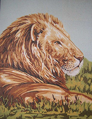 LION CLOSE UP IN PROFILE NEEDLEPOINT CANVAS FROM GOBELIN L 40.129, CANVAS ONLY