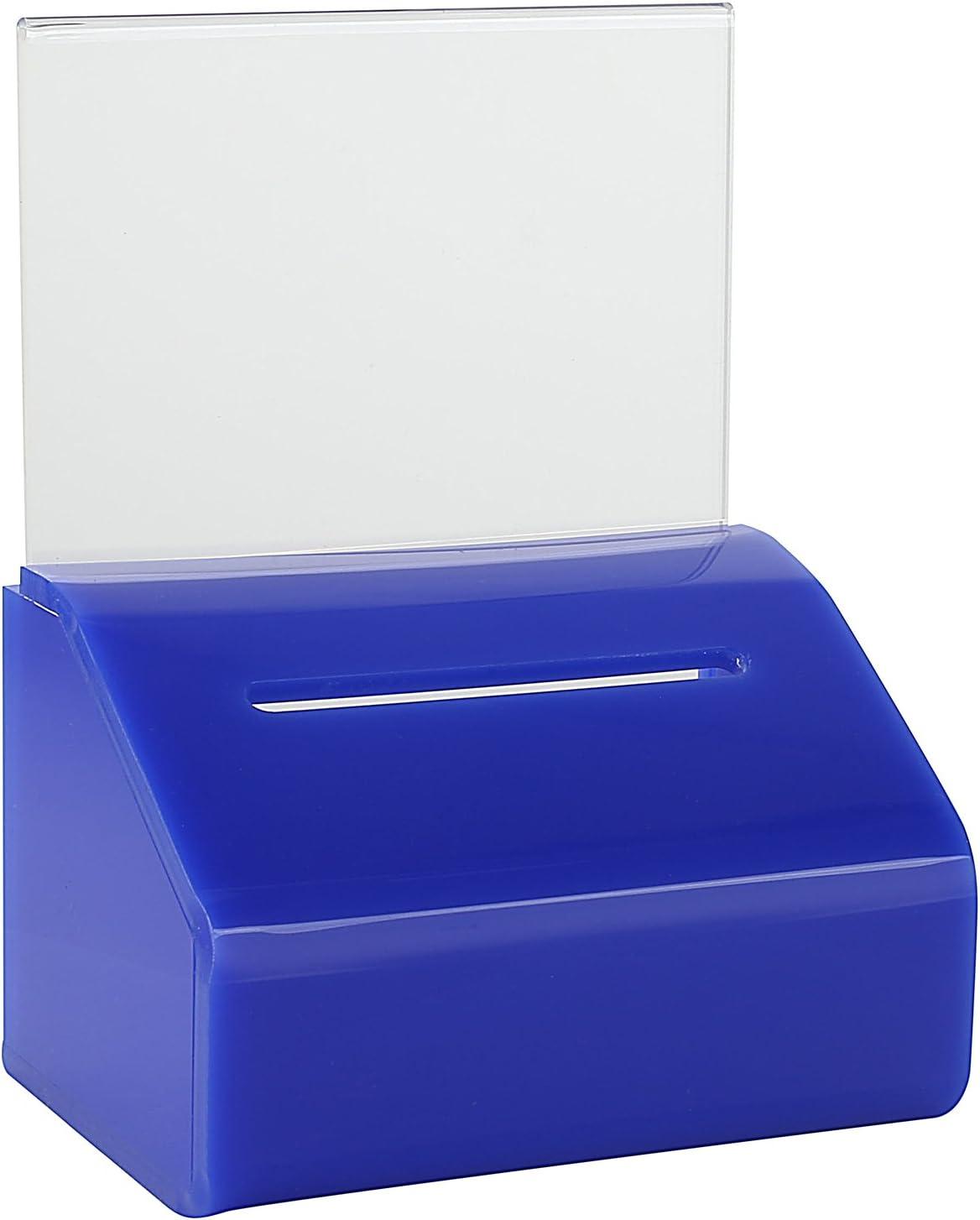 Slopie Spendenbox Ticketbox mit Schloss und Afsteller rot Wahlurne MCB Trinkgeldschachtel Kleine klare Spendenbox mit Schloss und Schildhalter