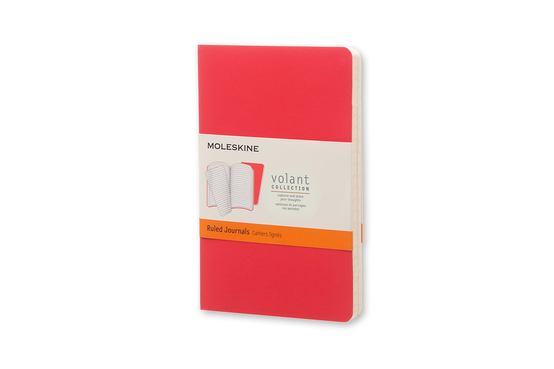 Moleskine Volant Soft Cover Journal, Red, Ruled, Pocket x2