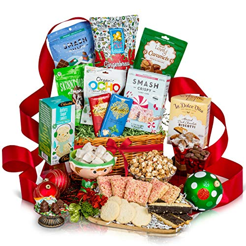 Gourmet Christmas Gift Basket - Healthy Holiday Gift Basket Filled With Premium Chocolate, Cookies, Christmas Candy - Perfect Health Food Christmas Gift Baskets For Families, Men & Women (Healthy Christmas Baskets)
