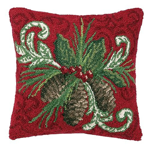 Balsam Pine Cone Red Damask Holiday Wool Hooked Throw Pillow - 16