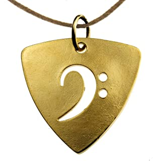 product image for From War to Peace Gold-Dipped Bass Pick Rock and Roll Patina Pendant Necklace on Adjustable Natural Fiber Cord