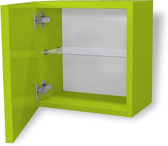 Aleghe Printemps Mueble Auxiliar de baño, Madera, Verde Brillo, 36.00x22.00x35.00 cm: Amazon.es: Hogar