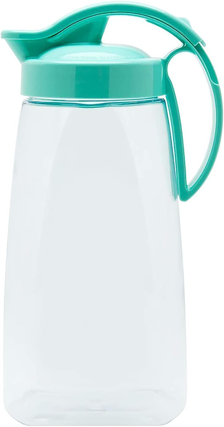 High Heat Resistant One-touch Airtight Pitcher 2.3QT (74oz) for Water, Coffee, Tea, Other Hot or Cold Beverages | Leak Proof & Space Saving, Dishwasher Safe, BPA Free | Made in Japan - Turquoise