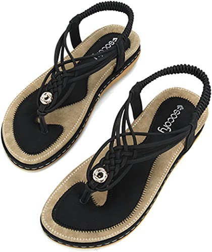 Womens Diamante Sandals Faux Leather Summer Beach Flat Strappy Shoes Girls Size