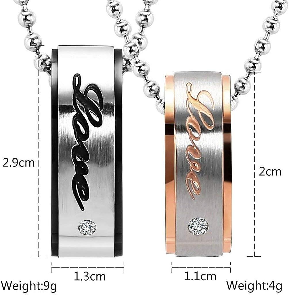 LOPEZ KENT Stainless Steel Mens Womens Pendant Necklace Couplesing Rings Love CZ Neckalce
