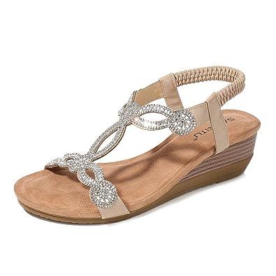 c062d51e59ada Meeshine Womens Wedge Sandal Platform Rhinestone Dress Sandals Bohemia Shoes