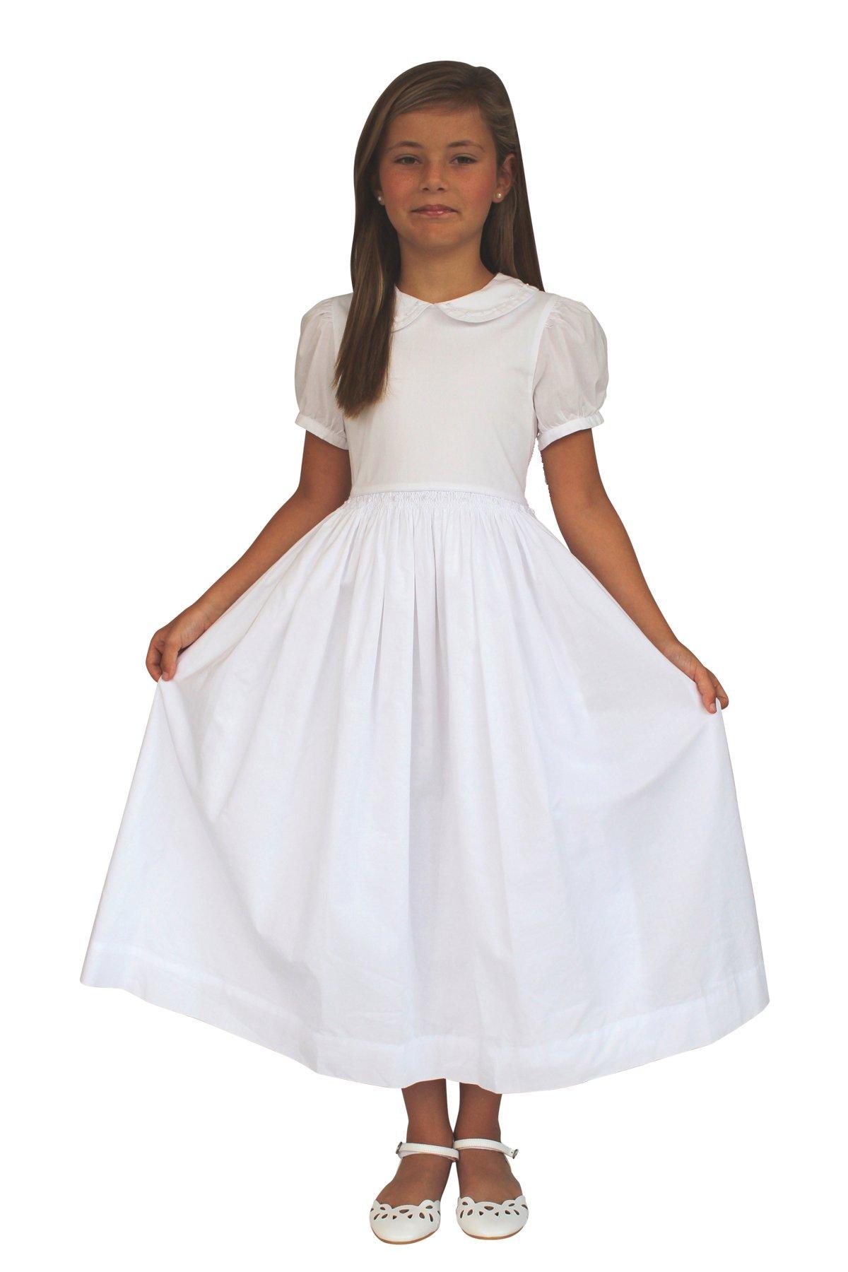 Strasburg Children Mary Classic Girls First Communion Dress Simple White Baptism Dress(10)