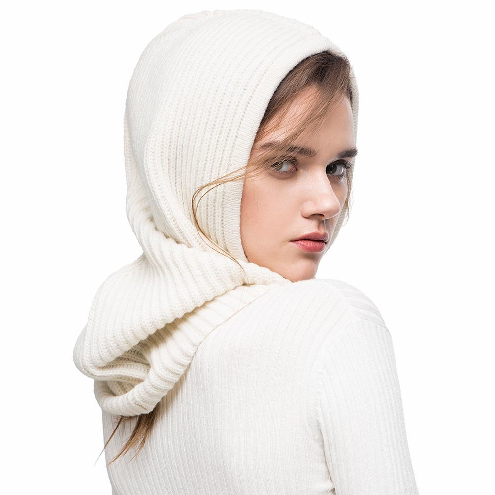FINCATI Winter Fall Hat Balaclavas Cashmere Blending Outdoor Sports Warmer Windproof Outdoor Sports White Drawstring Scarves (White)