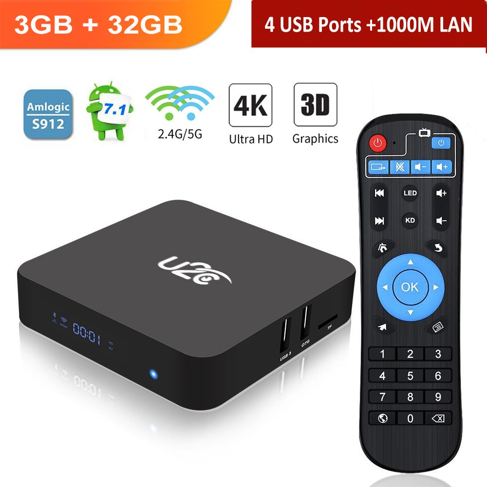 Android TV BOX 7.1【3gb Ram+32gb Rom】2018 Amlogic S912 Octa Core 64 Bit 2.4G/5G Dual Band WiFi 4K HD 1000M LAN BT 4.1 X Super Smart Media Player with LED Display by U2C