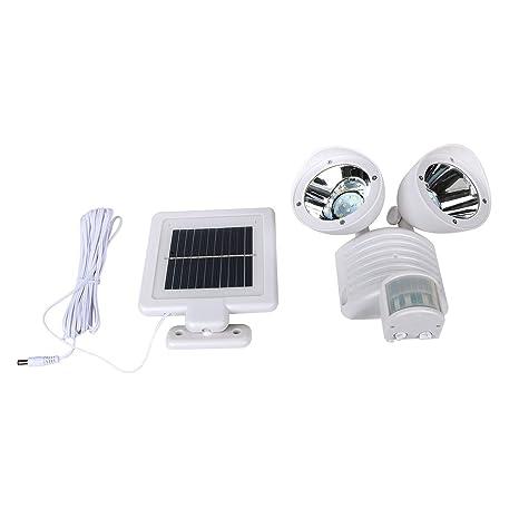 Doble cabeza luz solar LED exterior jardín foco lámpara con sensor de movimiento PIR ajustable blanco
