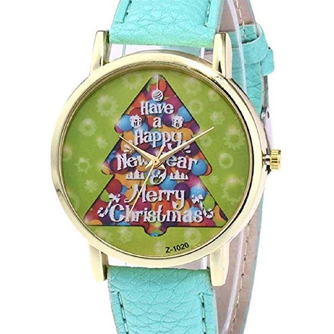 Scpink Mujeres Árbol de Navidad Patrón Relojes de Pulsera para Mujer Relojes analógicos Relojes Femeninos de Cuero (Verde): Amazon.es: Relojes