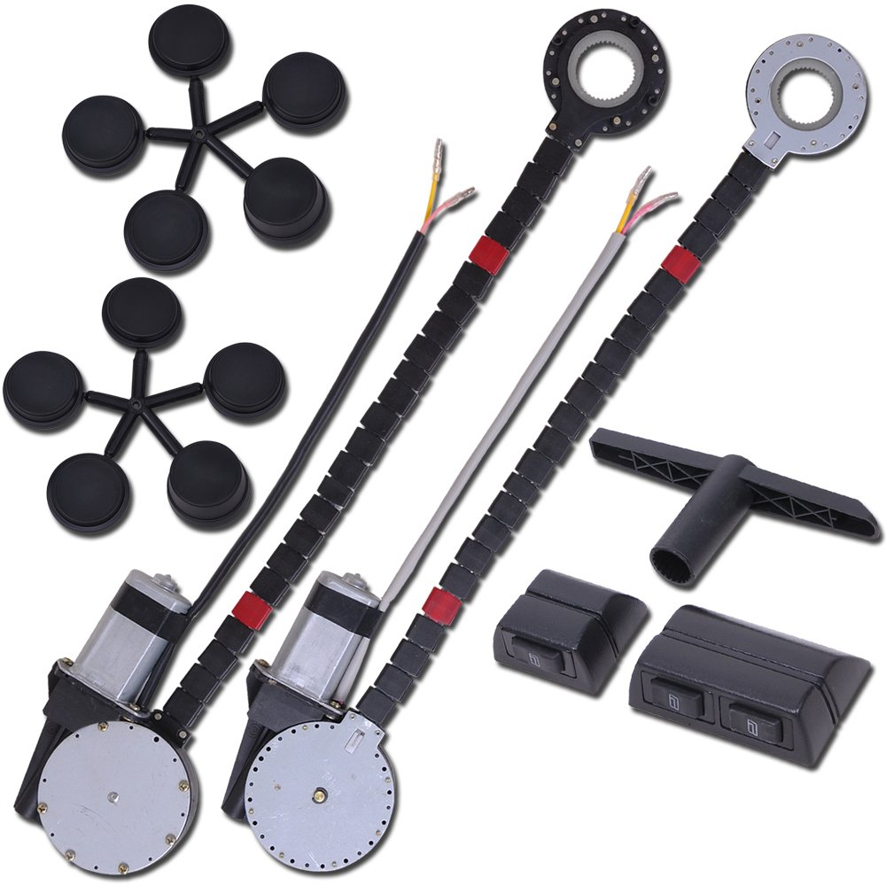 Yescom Electric Power Window Roll Up Conversion Kit with 2 Switches Wiring and Hardware for 2-Door Truck SUV Car