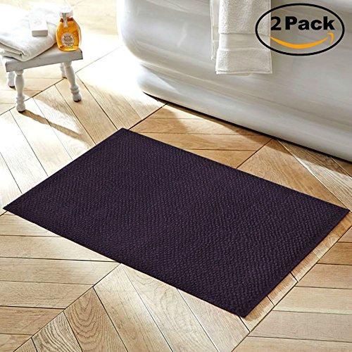 VALUE HOMEZZ 100% Cotton Rug (2 piece bathroom rug set) Bubble Design bath mat Chenille Bath Rugs Size 20 x 32/20 x 32 Anti-Slip Machine washable Bathmat (Purple)