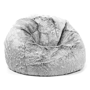 f7c01b9823 icon Large Childrens Classic Faux Fur Bean Bags - Arctic Wolf Grey ...