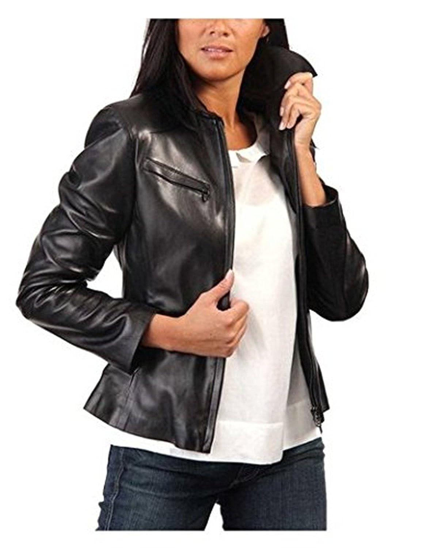 Black Men's Genuine Lambskin Leather Jacket Slim Fit Moto Biker Jacket LTN344
