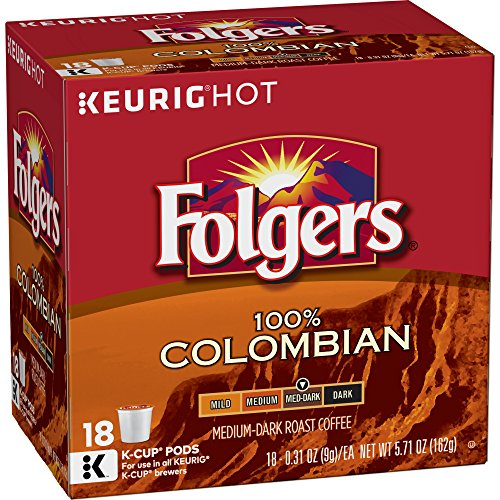 - Folgers 100% Colombian Coffee, Medium Roast, K Cup Pods for Keurig K Cup Brewers, 18-Count (Pack of 4)