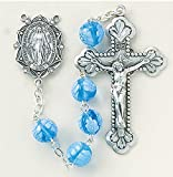 The Finest Sterling Silver Rosaries, Sterling Silver Centerpiece and Crucifix with Rhodium Plated Brass Findings, 8mm Blue Venetian Glass Flower Beads From Italy with Sterling Silver Miraculous Center and 2'' Sterling Crucifix