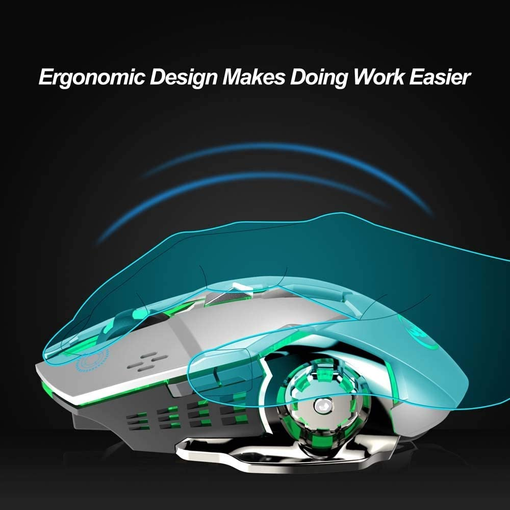 TONGZHENGTAI 2.4G Wireless Rechargeable Gaming Mouse Colorful 7 Breathing Lights Can Turn Off The Unaccented 2400dpi Ergonomic Optic Mouse White High Speed