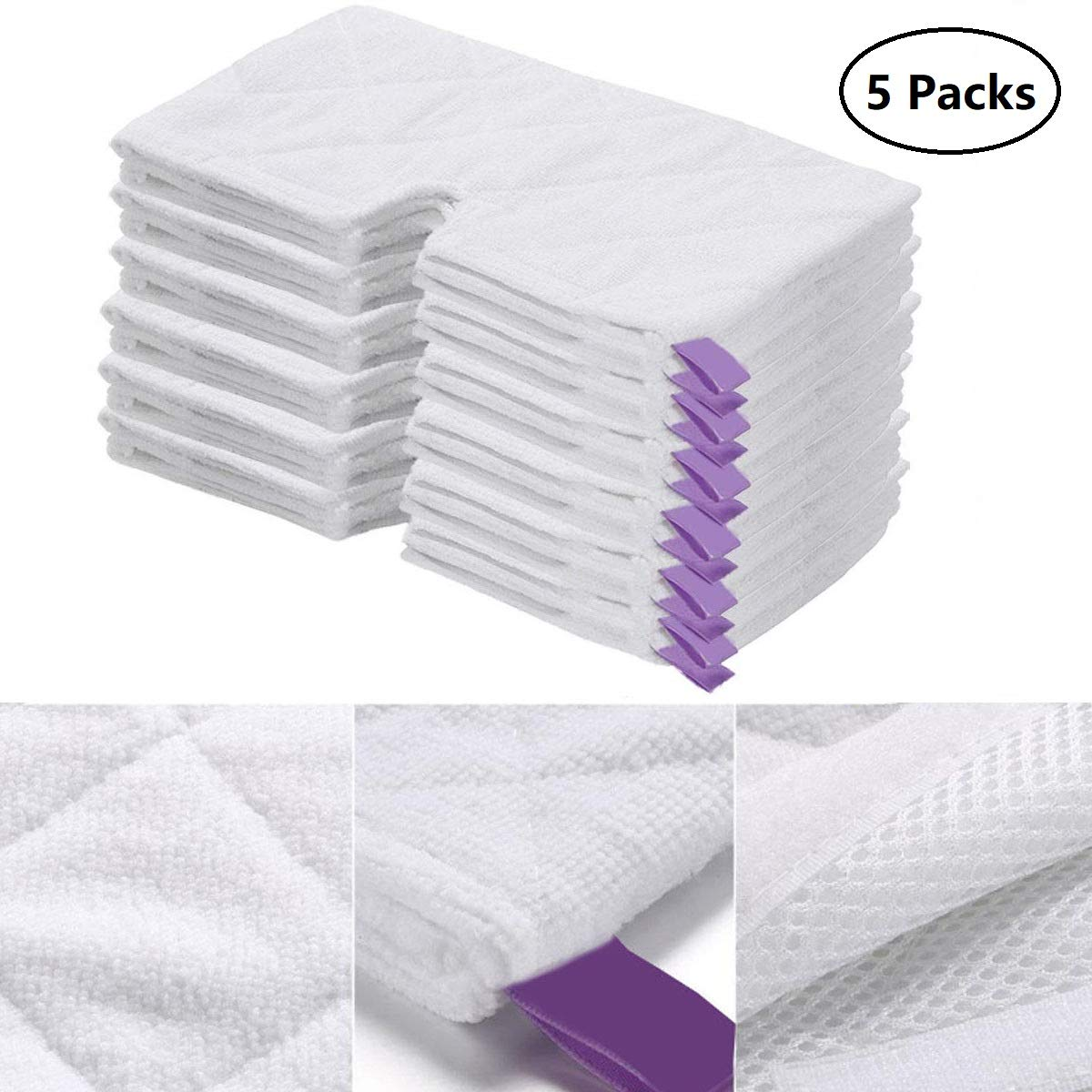 Vamotto 5 Pack Microfiber Steam Mop Pads Replacement for Shark Steam Pocket Mops S3901 S3500 Series S3501 S3601 S3550 S3801 SE450 S3801CO S3601D