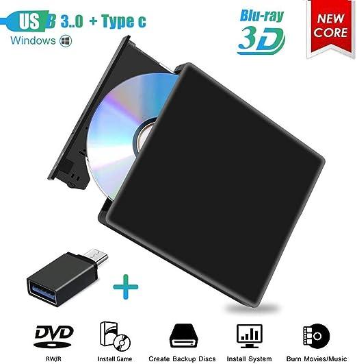 Grabador de Unidad de DVD BLU Ray Externo 3D,USB 3.0 Unidad ...