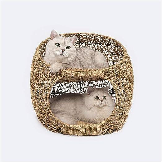 DCRYWRX Cesto De Mimbre para Gatos, Cesto Cama De Torre De Gato, Cesto De Hamacas para Gatitos, Casa para Mascotas con Almohadilla De Algodón,S: Amazon.es: Hogar
