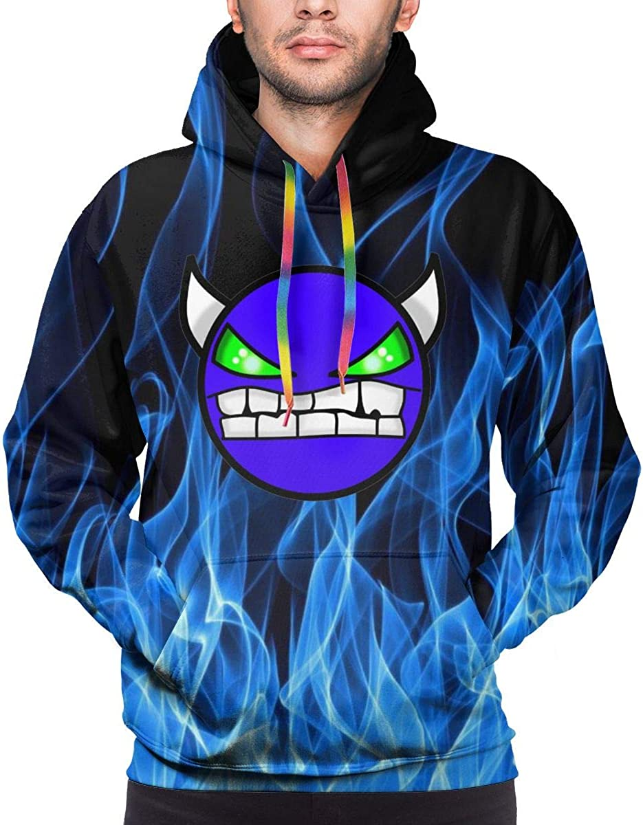 Geom-etry Devil Da-sh Men's Sweatshirt Hooded Pullover Hoodie Long Sleeve Color Drawstring