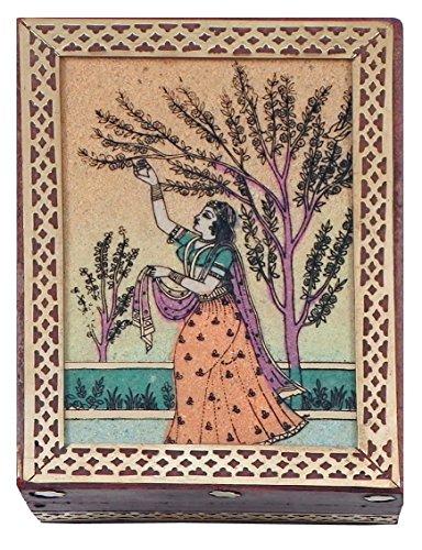 Gemstone Painting - DollsofIndia Wood Jewelry Box with Gemstone Painting - 4.25 x 3.25 x 1.25 inches (MZ99)