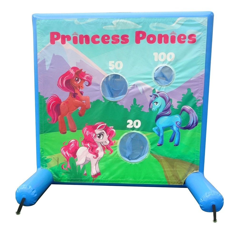 Princess Ponies Inflatable Air Frame Game with Panel, Hand Pump, and Stakes Included for Carnivals, Schools, Churches, Birthday Parties, and Other Events