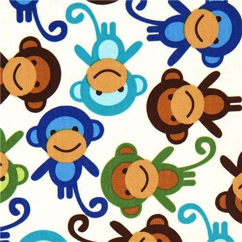 Robert Kaufman premium laminate fabric little monkeys (per 0.5 yard multiples)