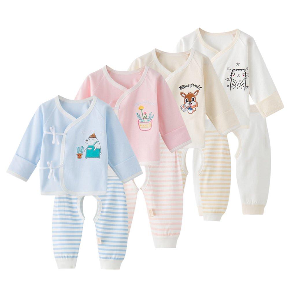 Newborn Baby Boys Girls Cartoon Tops Pants Infant Sleepwear Outfits Set