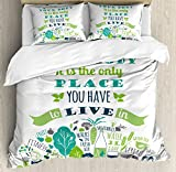 Fitness Duvet Cover Set Queen Size by Ambesonne, Body is the Only Place You Have To Live in Healthcare Motivation Active Life Phrase, Decorative 3 Piece Bedding Set with 2 Pillow Shams, Multicolor