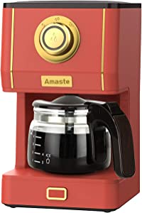 AMASTE Coffee Maker, 25 Oz Drip Coffee Machine with Class Coffee Pot, Retro Style Coffee Maker with Reusable Coffee Filter & Three Brewing Modes, 30minute-Warm-Keeping, CM 1003AE-Red
