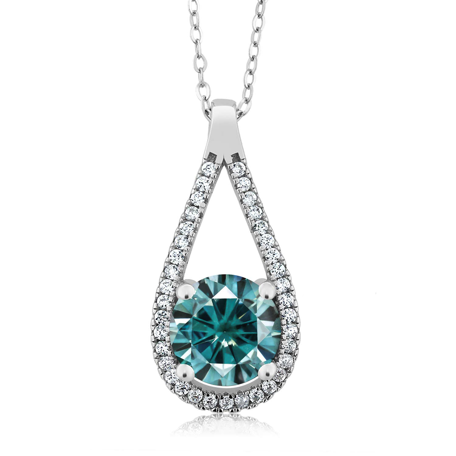 Gem Stone King 925 Sterling Silver Pendant Round Blue Created Moissanite and 1.90ct DEW