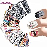 BlingBling Art 24 Styles Nail Sticker Women Nail Art Water Decals Marilyn Monroe Nail Wraps Audrey Hepburnl Stickers Nails Accessoires