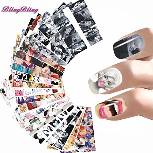 BlingBling Art 24 Styles Nail Sticker Women Nail Art Water Decals Marilyn Monroe Nail Wraps Audrey Hepburnl Stickers Nails Accessoires by BlingBling Nail Art
