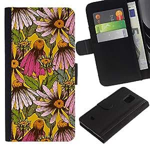 For Samsung Galaxy S5 Mini(Not S5), SM-G800 Case , Floral Pattern Daisy Flowers Nature - la tarjeta de Crédito Slots PU Funda de cuero Monedero caso cubierta de piel
