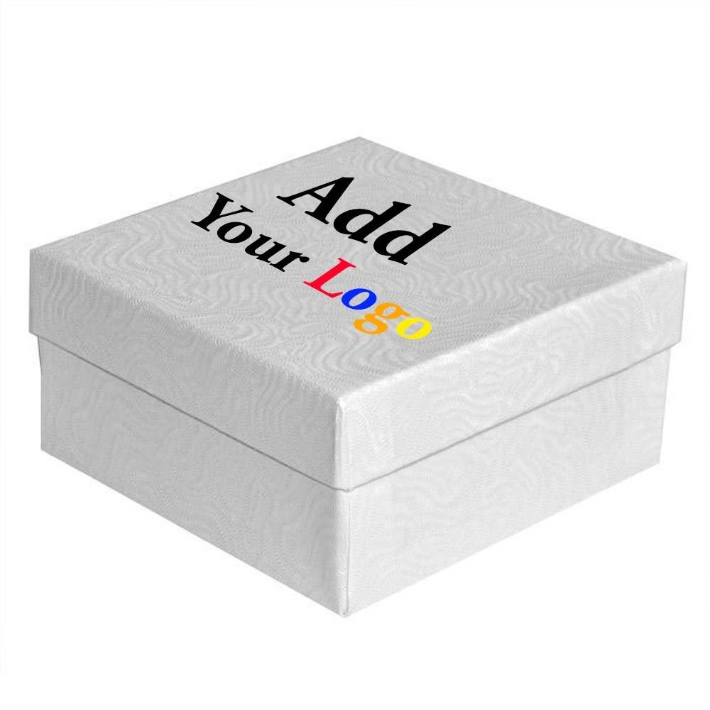Custom Printed Swirl White Cotton Filled Box #34 ~ Pack of 100