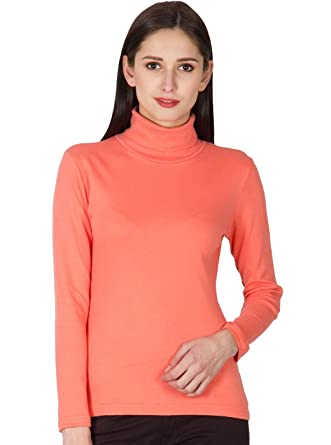 Hypernation Coral Color Casual High Neck T-Shirts for Women  Amazon.in   Clothing   Accessories 9917ac953
