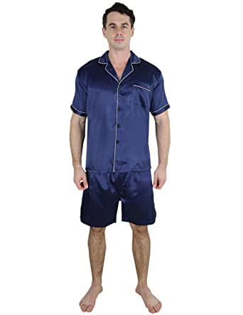 20561f0ea2 2 PCS Set Super Silk Mens Silk Pajama   Lounge Top   Shorts Set Dark Blue  at Amazon Men s Clothing store