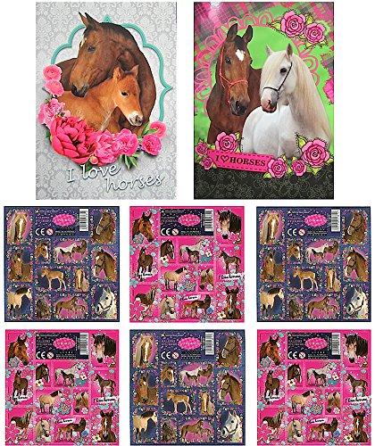 PFERDE - 2x Sticker Sammel-Album + 72 Pferde Sticker - Aufkleber zum sammeln und tauschen